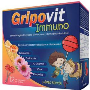 Gripovit Immuno Étrendkiegészítő nyalóka echinaceaval és vitaminokkal 10db