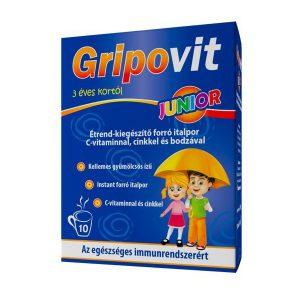Gripovit Junior Étrendkiegészítő italpor C vitaminnal, Cinkkel és bodzával 10 tasak