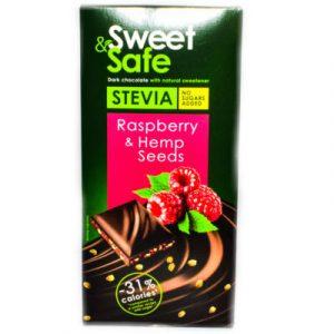 SWEET & SAFE Táblás étcsokoládé steviával, málnával és kenderrel 90 g